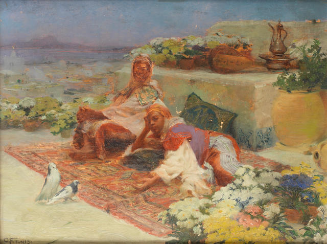 Otto Friedrich (Hungarian, 1862-1937) Figures reclining on a terrace, Tunis