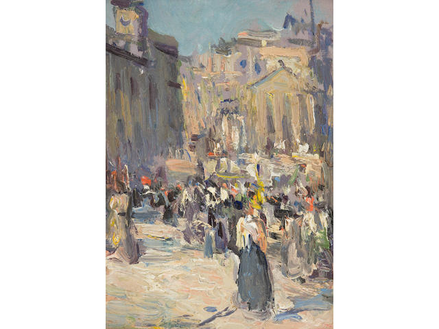 John Duncan Fergusson (British, 1874-1961) A busy day, Princes Street, Edinburgh 23 x 15 cm. (9 1/16 x 5 7/8 in.)