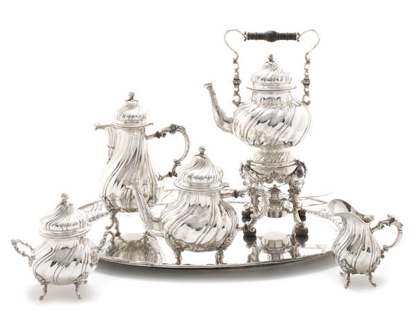 An early 20th century six-piece German silver tea service including tray by George Roth & Co, Hanau, circa 1900 (6)