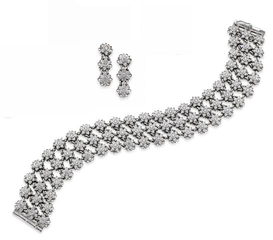 A diamond bracelet and earring suite