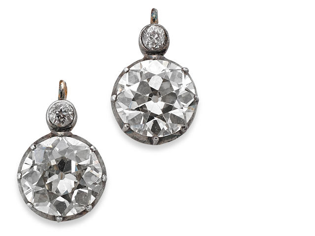 A pair of Victorian diamond earrings