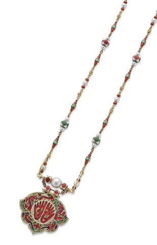 A 19th century enamelled necklace with Footprint of Vishnu (Vishnupada) pendant, Indian