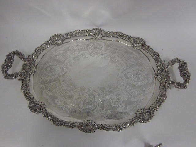 A Victorian silver two handled tray by T.J. & N. Creswick, Sheffield 1839