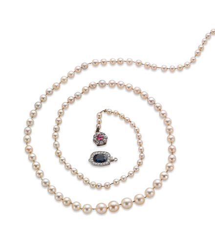 A pearl and cultured pearl necklace