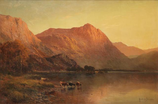 Alfred de Bréanski Snr. (British, 1852-1928) Llyn Gwynant, North Wales; Snowdon from Capel Curig lake, N. Wales