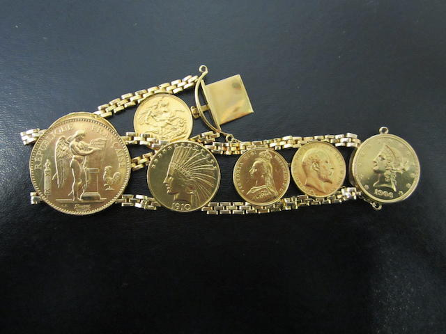 Coin Bracelet, comprising three Sovereigns, 1887, 1904, 1915; Two Pounds, 1887. Austria, 100 Francs, 1911. U.S.A., 10 Dollars, 1906, 1910.