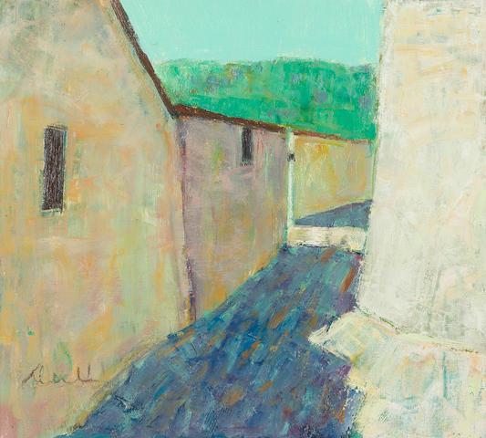 George Devlin, RSW (British, born 1937) A Farm in the Oise 46 x 50.5 cm. (18 1/8 x 19 7/8 in.)