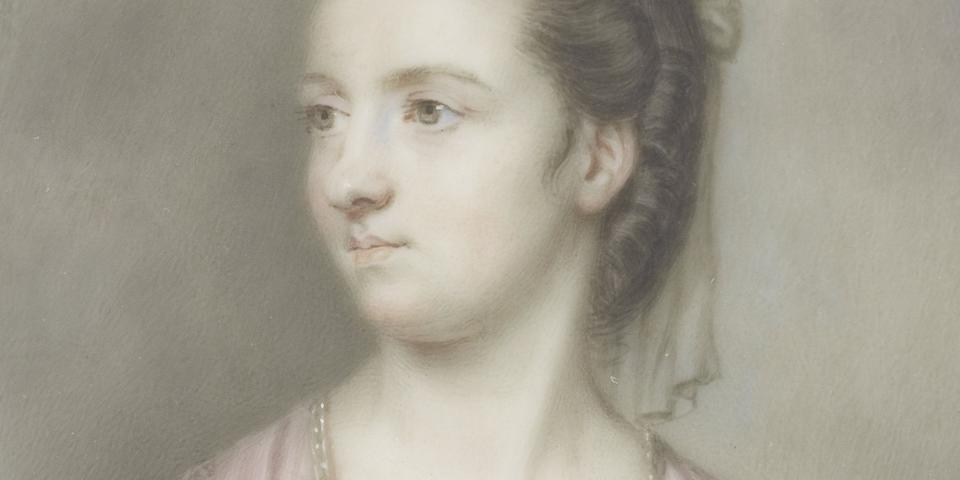 John Smart (British, 1742-1811) Isabella Perceval née Paulett, Countess of Egmont (d.1821), wearing powder pink dress slashed to reveal white bodice edged with blue and secured in place with sapphire and pearl clasps, her brown hair upswept beneath a diaphanous veil falling behind her shoulders