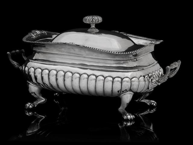 A George III silver soup tureen by George Fenwick, Edinburgh 1809