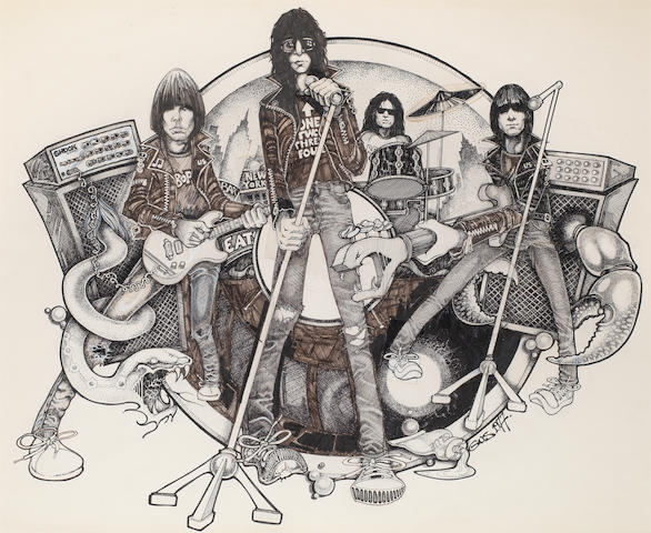 The Ramones: The original cover artwork for the album 'Road To Ruin',