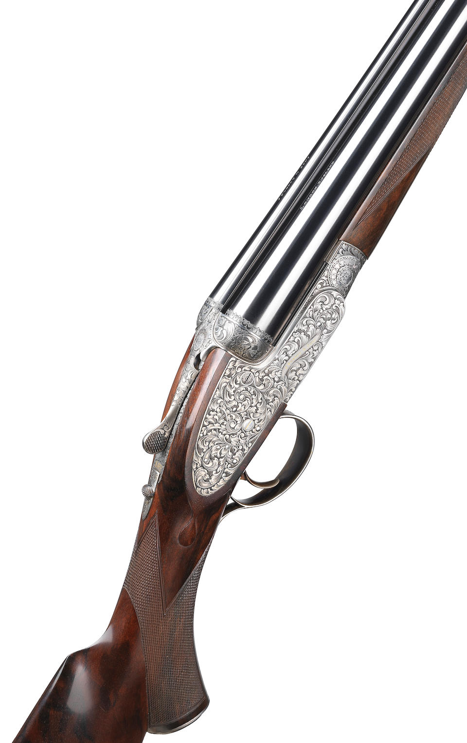 A fine Chung-engraved 12-bore (2¾in) single-trigger self-opening sidelock ejector gun by J. Purdey & Sons, no. 30145 In its brass-mounted oak and leather case with canvas cover and makers accessories