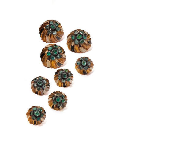Two sets of twelve emerald and enamel dress buttons, Continental