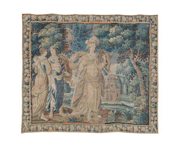 An early 18th century Flemish verdure tapestry 276cm x 321cm