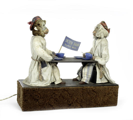 A rare electric 'Peter Pan Oats' double monkey automaton, by Fife Engineering Ltd. circa 1947