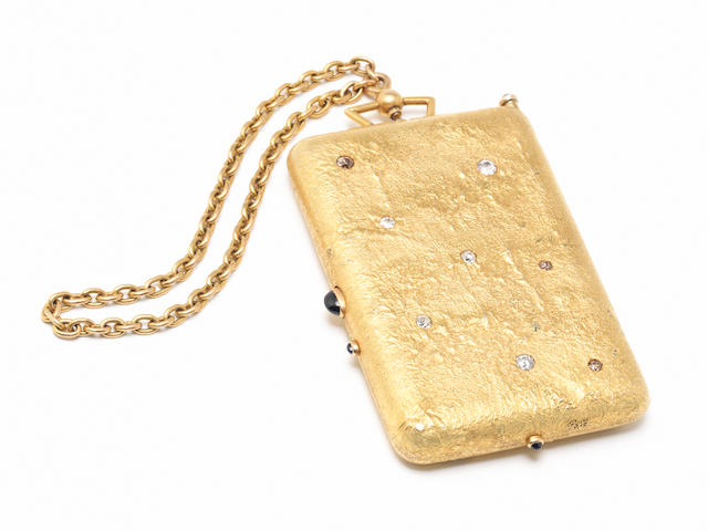 An impressive early 20th century Russian gold and gem-set aide-memoire maker's mark 'VK', also impressed in cyrillic 'Burkgardt', '56' standard, St. Petersburg 1908 - 1917