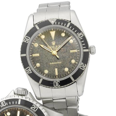 Rolex. A fine and rare stainless steel automatic bracelet watch Submariner, Ref:6204, Serial No.988***, Circa 1954