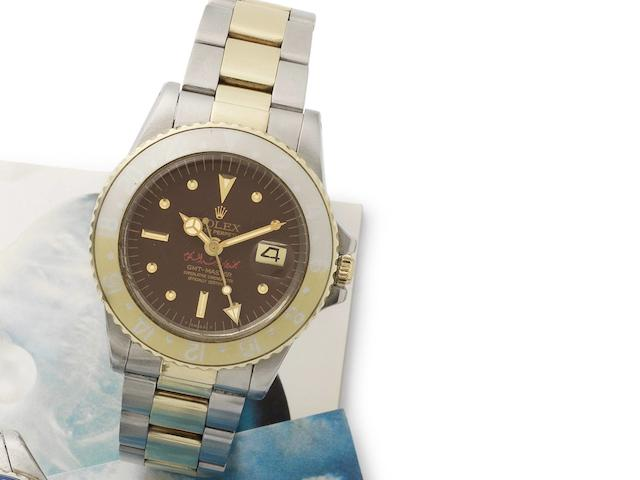 Rolex. A fine and very rare stainless steel and gold automatic bracelet watch with special dial made for the UAE GMT-Master, Ref:1675, Circa 1977