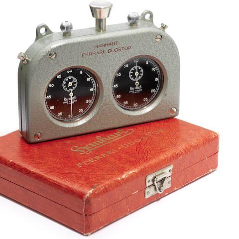 Hanhart/Ferrari Duostop. A rare dual stop watch timer in original fitted case Circa 1955
