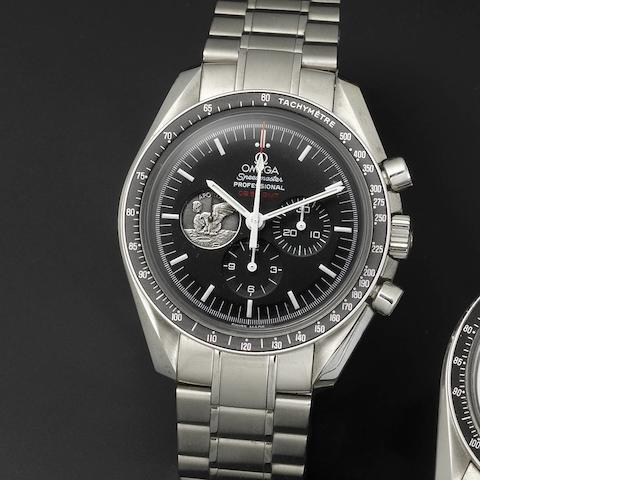 Omega. A stainless steel manual wind chronograph bracelet watch Speedmaster Professional Moonwatch Apollo 11, 40th Anniversary, 4286/7969, Made 2009