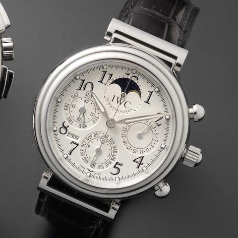 IWC. A stainless steel automatic perpetual calendar wristwatch Ref: 3758, Da Vinci steel, No.3090126, Circa 2000