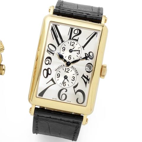 Franck Muller. An 18ct gold automatic triple calendar wristwatch Long Island Master Banker, Ref:1200MB, No.22, Sold at Marcus, New Bond Street, 22nd October 2005