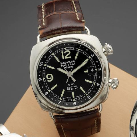 Panerai. A stainless steel automatic calendar alarm wristwatch Radiomir Alarm GMT, Ref:OP6563, Case No.BB1114623, No.G032/500, Circa 2007