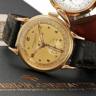Vacheron & Constantin. A fine and rare 18ct gold manual wind triple calendar wristwatch Ref:4240, Case No.300086, Movement No.457847, Circa 1947