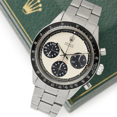 Rolex. A very fine and rare stainless steel manual wind chronograph bracelet watch Cosmograph Daytona 'Paul Newman', Ref:6264, Serial No.2417***,  Circa 1969