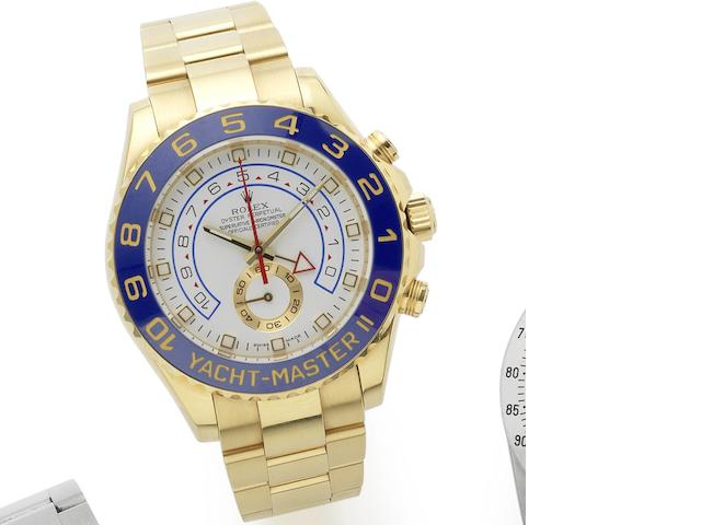 Rolex. An 18ct gold automatic chronograph bracelet watch Yacht-Master II Regatta chronograph flyback, Ref:116688, Serial No.M04****, Circa 2008