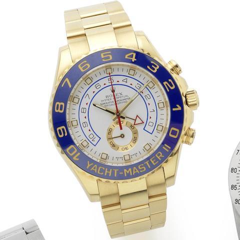 Rolex. An 18ct gold automatic chronograph bracelet watch Yacht-Master II Regatta chronograph flyback, Ref:116688, Serial No.M04****, Circa 2008