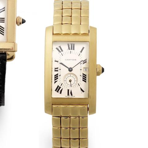 Cartier. An 18ct gold quartz calendar bracelet watch  Tank Americaine, Case No.8012905, Recent