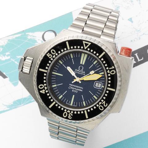 Omega. A stainless steel calendar bracelet watch  'PloProf,' Seamaster 600, Circa 1975