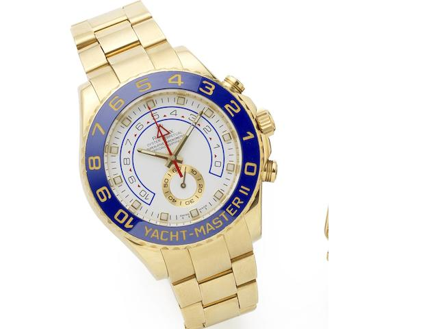 Rolex. An 18ct gold automatic chronograph bracelet watch  Yacht-Master II Regatta chronograph flyback, Ref:116688, Serial No.G11****, Sold 6th March 2012