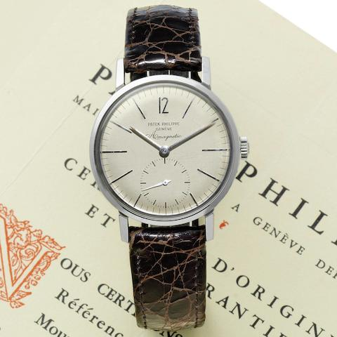 Patek Philippe. A fine and rare stainless steel antimagnetic wristwatch with original Certificate of Origin Amagnetic, Ref:3417, Case No.2605692, Movement No.728862, Circa 1959