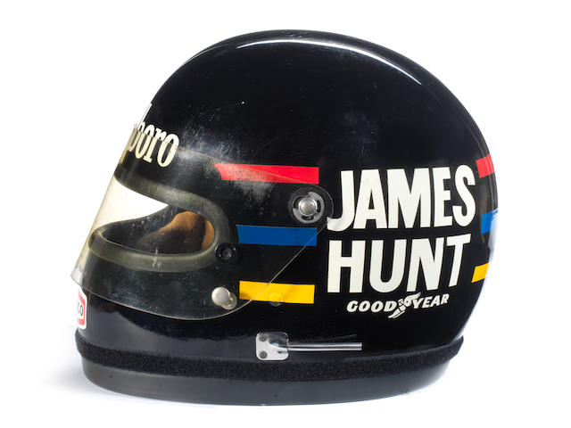 The raceworn James Hunt Bell helmet, used throughout the 1976 World Championship winning Formula 1 season,