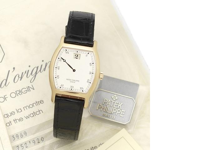Patek Philippe. A fine and rare 18ct rose gold manual wind wristwatch with jump hour,  Retailed by Asprey, together with fitted Patek Philippe box, 5 spare Patek Philippe straps and Certificate of Origin 150th Anniversaire 1839-1989, Ref:3969, Case No.2864833, Movement No. 752920 , Sold 1st July 1992 by Asprey PLC.