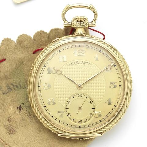 A. Lange & Söhne. An early 20th century 18ct gold open face keyless wind pocket watch Number 91892, Circa 1910