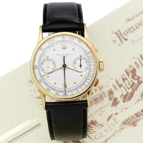 Patek Philippe. A fine and rare 18ct gold chronograph wristwatch together with Patek Philippe Extract from Archives and fitted box  Ref:533, Case No.621724, Movement No.862463, Made in 1940, Sold 29th November 1940