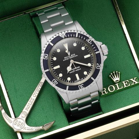 Rolex. A stainless steel automatic bracelet watch Submariner, Ref:5513, Serial No.571****, Sold October 1979