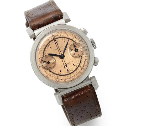 Rolex. A fine and rare stainless steel manual wind chronograph wristwatch with hooded flexible lugs   Antimagnetic, Ref:2920, Serial No.031***, Circa 1937