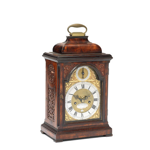 A third quarter of the 18th century mahogany table clock the dial signed Samuel Whichcote, London
