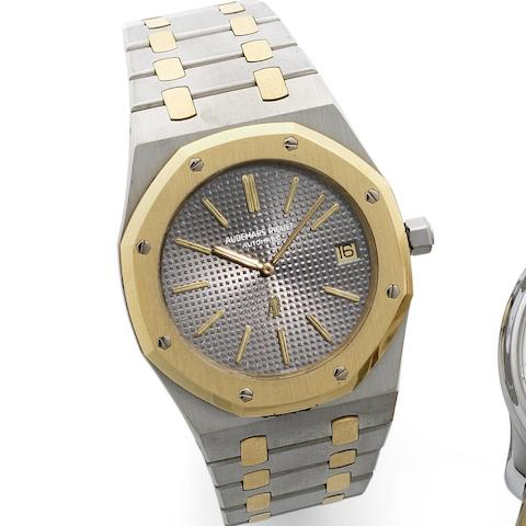 Audemars Piguet. A stainless steel and gold self-winding calendar bracelet watch  Early series Royal Oak, No. 68, Late 1970's