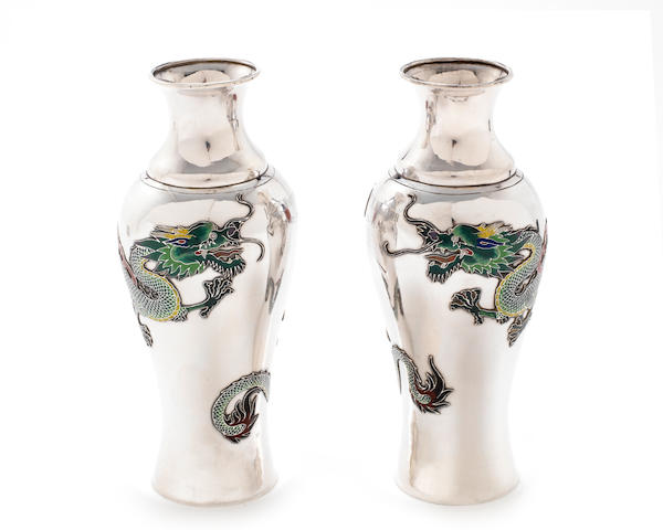 A pair of impressive early 20th century Chinese enamelled silver vases maker's mark 'PK', also stamped 'POHING' with two character mark stamps, Canton, circa 1920 (2)