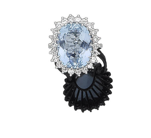 An aquamarine and diamond cluster ring, by Garrard & Co