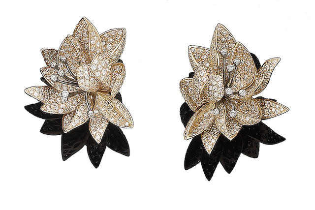 A pair of diamond-set floral earrings, by Chantecler