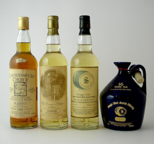 Bladnoch-1986Clynelish-12 year old-1982Glenallachie-11 year old-1985Glen Mhor-16 year old
