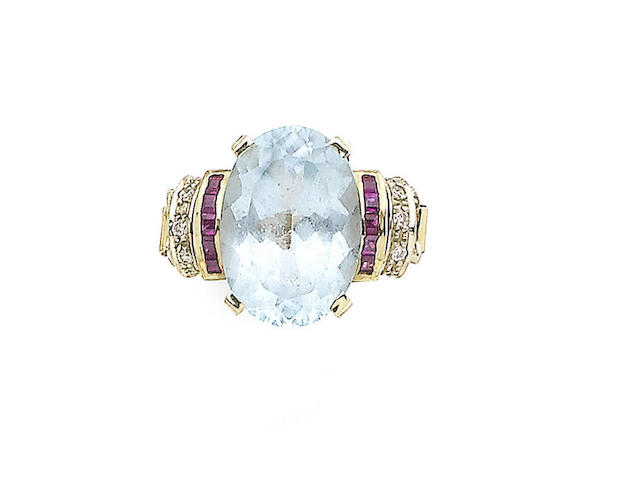 A topaz, ruby and diamond dress ring,