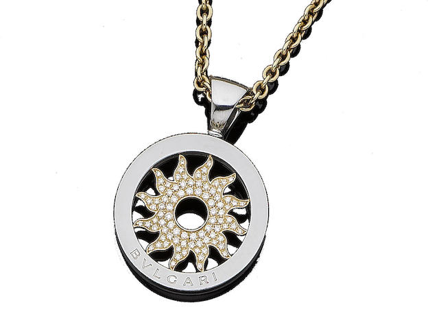 A diamond-set 'Tondo' sun pendant, by Bulgari