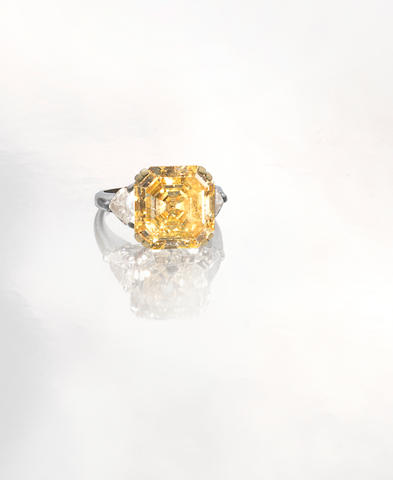 A fancy intense yellow diamond ring, by Graff