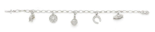 A diamond-set charm bracelet, by Cartier,